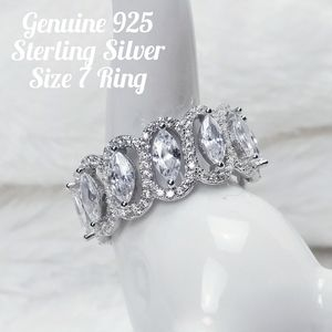 Sterling Silver Eternity Marquis Dazzle Ring 7